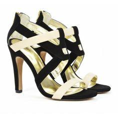Black & White Colorblock Heels