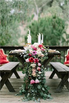 Stunning floral runner with shades of pink and red.