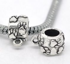 10 Paw Print Bails European Charm Bail Connectors Silver Round Pet Paws 4029 by OverstockBeadSupply on Etsy