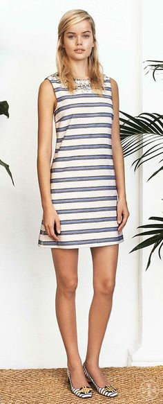 Opt for a dressier take on the linear look   Tory Burch Spring 2014