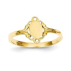 IceCarats® Designer Jewelry Size 4.25 14K Filigree Oval Polished Center Baby Signet Ring * Check out this great product.