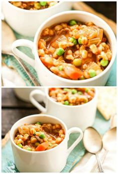 Instant Pot Beef and Barley Soup - A hearty, satisfying beef stew! It's easy to make and filled with tender beef, plump barley and tender vegetables. Easy Soup Recipes, Beef Recipes, Skillet Recipes, Family Recipes, Dinner Recipes, Easy Weeknight Meals, Quick Easy Meals, Beef Barley Soup, Bisque Recipe