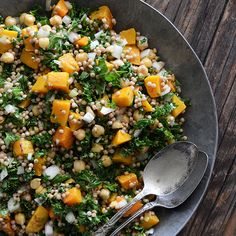 Roasted Butternut Squash Salad with Chickpeas, Kale, and Pearl Couscous Recipe Salads with apple cider vinegar, extra-virgin olive oil, honey, dijon mustard, salt, black pepper, butternut squash, olive oil, salt, black pepper, water, whole wheat pearl couscous, sweet onion, kale, chickpeas