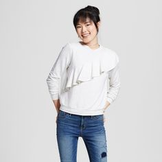 Women's Ruffle Sweatshirt Heather Gray XS - Mossimo Supply Co.
