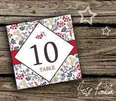 PRINTABLE, Christmas Wedding, Christmas Table Numbers by IrisPola, $14.00