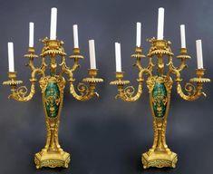 Russian Malachite Pair of Pedestals & Candelabras