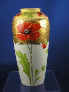 Limoges Blank Stouffer Studios Poppy Motif Vase (c.1906-1914)