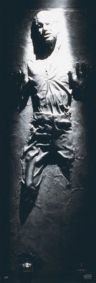 Have any of you seen Han Solo from 'Star Wars'? What's going on with him right now? This 'Han Solo Carbonite' door poster by Star Wars shows you exactly what's going on with him. Capturing Han Solo was Jabba's top priority and, he was frozen in carbonite to stop him escaping. So think twice about who you mess with.