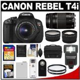 Canon EOS Rebel T4i Digital SLR Camera Body & EF-S 18-55mm IS II Lens with 75-300mm III Lens + 32GB Card + Flash + Battery + Case + Filters ...