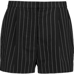 Stella McCartney Pinstripe wool-blend twill shorts ($405) ❤ liked on Polyvore featuring shorts, bottoms, black, stella mccartney, high waisted shorts, highwaisted shorts, black shorts and pinstripe shorts