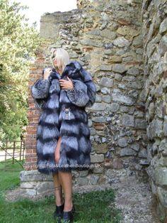 Nouvelle saga silver fox fourrure long poussette manteau avec massive capuche silberfuchs volpe