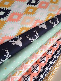 Tribal fabric, Metallic fabric, Deer Fabric, Cotton Fabric by the Yard, Arizona Fabric, April Rhodes, Art Gallery Fabric- Fabric Bundle of 7 by FabricShoppe on Etsy
