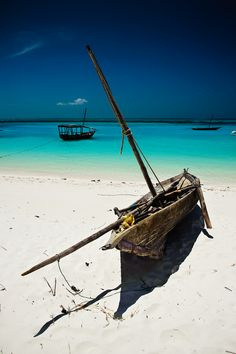 Dhow on the Kendwa Beach, on the North coast of Zanzibar, Tanzania.