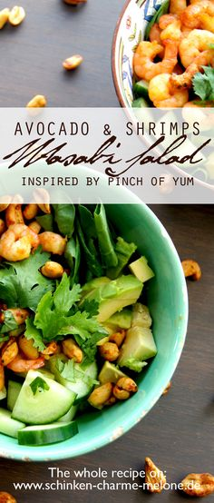Avocado salad with shrimps and wasabi dressing! Enjoy! Recipe: http://schinken-charme-melone.de/en/pinch-of-yums-shrimp-avocado-salad-wasabi-dressing