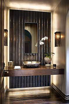 Beautiful Bamboo Wall Panels for Interior and Exterior Home: Glossy Finished Floor Bamboo Wall Panels With Rustic Cover Wall Lamp And White . - Home Decorating Magazines Bad Inspiration, Bathroom Inspiration, Bathroom Ideas, Bathroom Designs, Bathtub Designs, Shower Designs, Home Design, Design Design, Design Homes