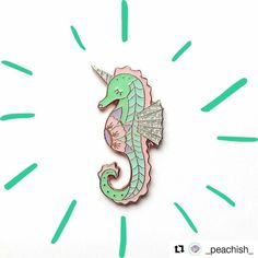 Pastel Unicorn Seahorse Pin