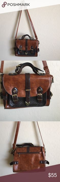 Darling two tone bag! Not sure if it's real leather but a really cute bag regardless. Magnetic clasps close the front. Lovely condition, practically new Bags Satchels