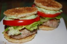 Club burger sliders with Avocado ranch dressing.
