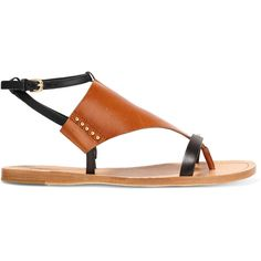Sigerson Morrison East cutout leather sandals ($160) ❤ liked on Polyvore featuring shoes, sandals, black, buckle sandals, leather ankle strap sandals, ankle wrap sandals, black ankle strap shoes and black sandals