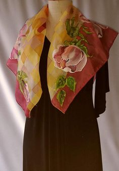 Items similar to Shawl.Natural silk hand painted shawl, orange - yellow,burgundy floral shawl, rosehip on Etsy Hand Painted Dress, Painted Clothes, Painted Silk, Chiffon Scarf, Silk Chiffon, Silk Art, Body Warmer, Satin Flowers, Monochrome