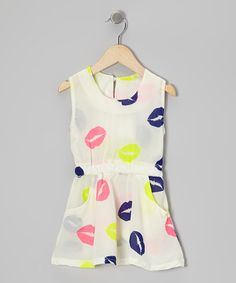 Take a look at this White Lips Chiffon Dress - Toddler & Girls by Hula Mula on #zulily today!