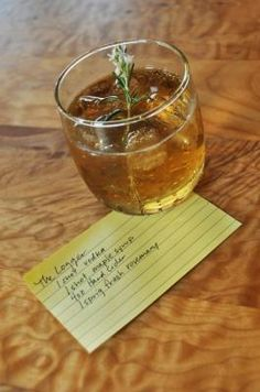 The Logger - Hard Cider, Vodka (or Rosemary Infused Vodka), Maple Syrup, Rosemary Sprig