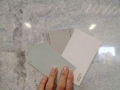Sherwin Williams- Sea Salt.        Benjamin Moore- Revere Pewter.                    Benjamin Moore- White Dove.....   paint colors for consideration.