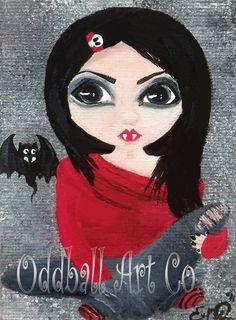 ACEO Vampire Cute Big Eyed Girl Dark Gothic by OddballArtCo, $25.00
