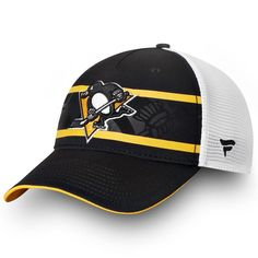 8553c9f0a Men's Pittsburgh Penguins Fanatics Branded Black/White Authentic Pro Second  Season Trucker Adjustable Hat