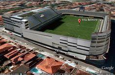 Modelação 3D do Estádio Vila Belmiro, em Santos, no Brasil.  Pode visitar este nosso trabalho na camada earth do google maps.