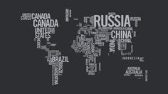 This typographic image is informational while also eye catching. Each country is labeled while also making the shape of each continent. This is a very unique image while also be very simple. The two neutral colors used are simple enough that they don't overwhelm the message. This image uses only one font, but the different sizes, spacing, and orientation make the viewer think otherwise.