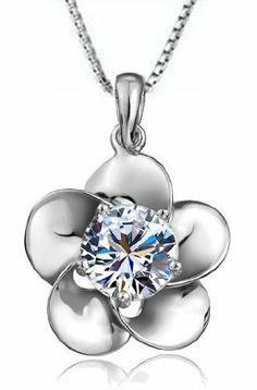 """Rhodium Plated 925 Sterling Silver Cubic Zirconia Regal Flower Pendant Necklace for Women Including Italian Sterling Silver Box Chain 18"""" SS071"""