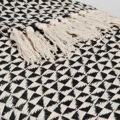 Überwurf aus Baumwolle schwarz/weiß 130 x 160 cm MAKASSAR