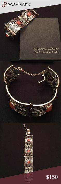 """Silpada RETIRED Cherry Crystal bracelet Cherry crystal over cascades of Sterling Silver. Fits up to a 7 1/4"""" wrist and has a fold-over clasp and safety chain. Silpada Jewelry Bracelets"""