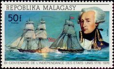 """american brig """"Lexington"""" (Madagascar) years of Independence of the United States) Mi:MG 306 Madagascar, Chat Board, Lafayette, Stamp Collecting, Postage Stamps, Sailing Ships, United States, American, Orient"""