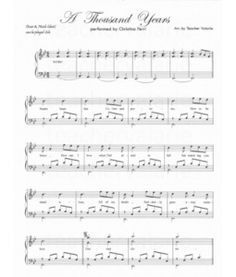thousand years piano sheet music pdf