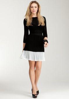 bebe Contrast Pleated Skirt Work Sportswear Black/egret-m coupon| gamesinfomation.com