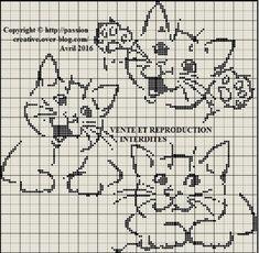 Grille gratuite point de croix : Trois petits chats...