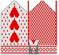Woolspires adventskalender - luke 2 - Hjertevotter | Woolspire Knitting Charts, Knitting Stitches, Free Knitting, Knitting Patterns, Knitted Mittens Pattern, Knitted Gloves, Luke 2, Amigurumi, Tejidos