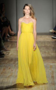Jenny Packham yellow chiffon gown