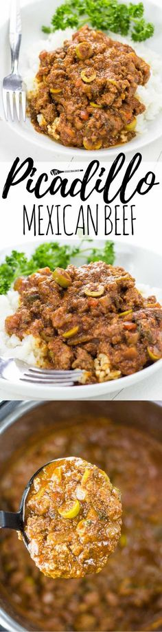 Picadillo Mexican Beef recipe made so easy in one pot and served over rice. Classic and total comfort food great for a crowd. Total must-have to add to the weekly meals! (Gluten Free, Dairy Free) paleo lunch for the week Mexican Dishes, Mexican Food Recipes, Beef Recipes, Cooking Recipes, Beef Tips, Mexican Cooking, Best Gluten Free Recipes, Healthy Recipes, Easy Recipes