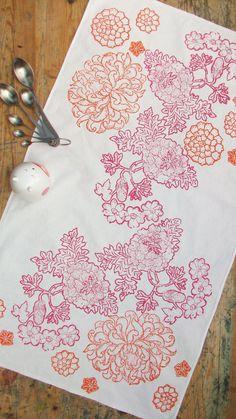 Tea towel block printed Exotic Chrysanthemum fuschia by papatotoro on etsy