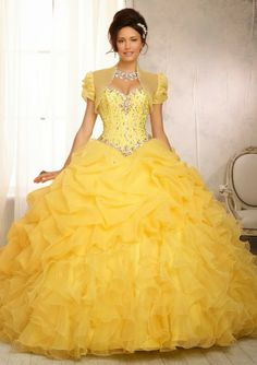 Vestidos de Quinceanera | Yellow Quinceanera Dresses | Sweet 15 | Yellow ruffled gown | Quince fashion