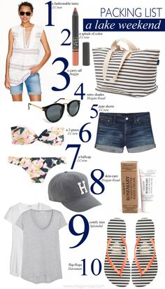 A Lake Weekend - hogan road Comfy Travel Outfit, Travel Outfit Summer, Weekend Packing List, Packing Lists, Summer Vacation Outfits, Summer Camping Outfits, Summer Clothes, Surf, Weekend Outfit