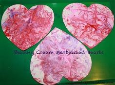 shave cream marbelized hearts craft - kids love this easy  messy project and the results are gorgeous. They make great valentines for friends and family