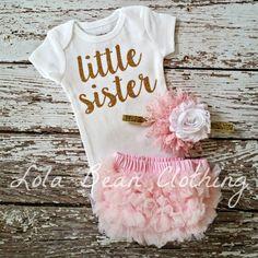 Lolabeanclothing bebé niña tomar Inicio traje recién nacido bebé niña hermanita mono rosa Bloomers rosa y oro venda conjunto oro