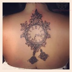 Upperback Clock Tattoo For Girls