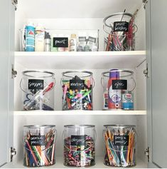 Clear paint can storage solution for arts and crafts supplies via Art Supplies Storage, Art Storage, Craft Room Storage, Organize Art Supplies, Craft Supplies, Stationary Organization, Playroom Organization, Organizing Kids Clothes, Organizing Toys