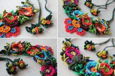 collar de crochet Freeform declaración con rojo rosado azul