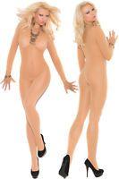 Sexy Womens Long Sleeve Sheer Nude/Black Body Stocking Bodysuit Nightwear C79796